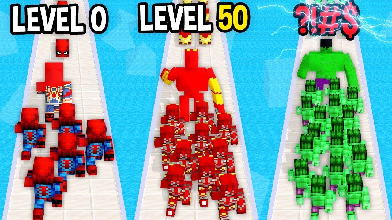 Monster School: SuperHero Army Run Mobile Game Max Level LVL Noob Pro Hacker - Minecraft Animation