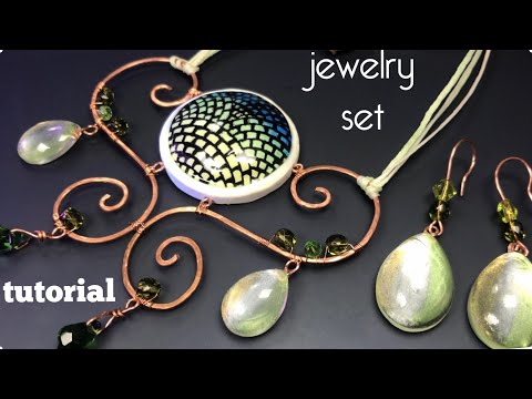DIY.JEWELRY SET MADE FROM POLYMER CLAY,RESIN,WIRE AND BEADS