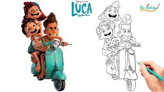 How To Draw Lขca Giulia & Alberto on Vespa - Easy Step by Step Luca & Alberto Vespa Drawing Tutorial