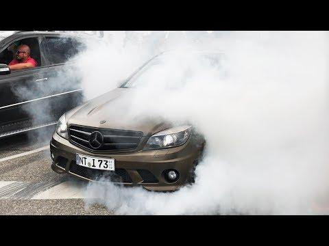 Mercedes AMG meets Motorworld Stuttgart 2017 - BURNOUTS REVS and ACCELERATIONS !