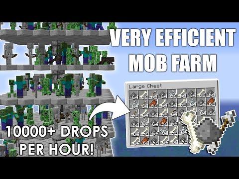 Minecraft: EASY Efficient MOB FARM Tutorial 1.16.4   Zombie Creeper Skeleton Farm