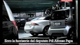 La Jaguar di Papa parcheggiata a Montecitorio