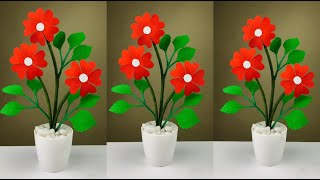Beautiful Flower Making With Paper | Paper Flower Making | Home Decor | Paper Craft | DIY Flower