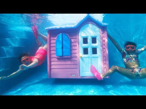 Living In A UNDERWATER HOUSE In Our Swimming Pool!!
