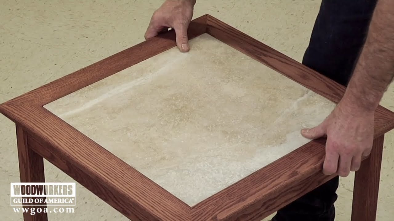 build a tiled table part 3 sand finish install the tile woodworkers guild of america