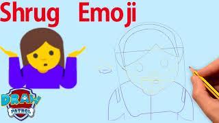 How To Draw Shrug Emoji - Easy | Art For Kids Hub