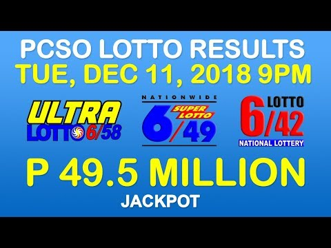 Lotto Result December 11 2018 9pm PCSO (6/58, 6/49, 6/42, 6-digit, Ez2, Suertres, Stl)
