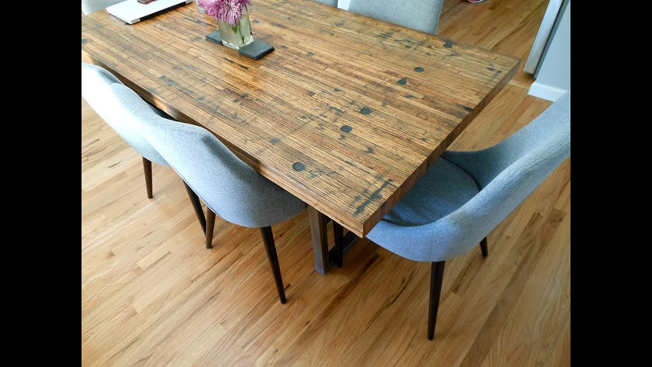 Reclaimed Semi Truck Trailer Wood Floor Tables