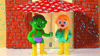 SUPERHERO BABIES UNDER THE RAIN ❤ Spiderman, Hulk & Frozen Elsa Play Doh Cartoons For Kids