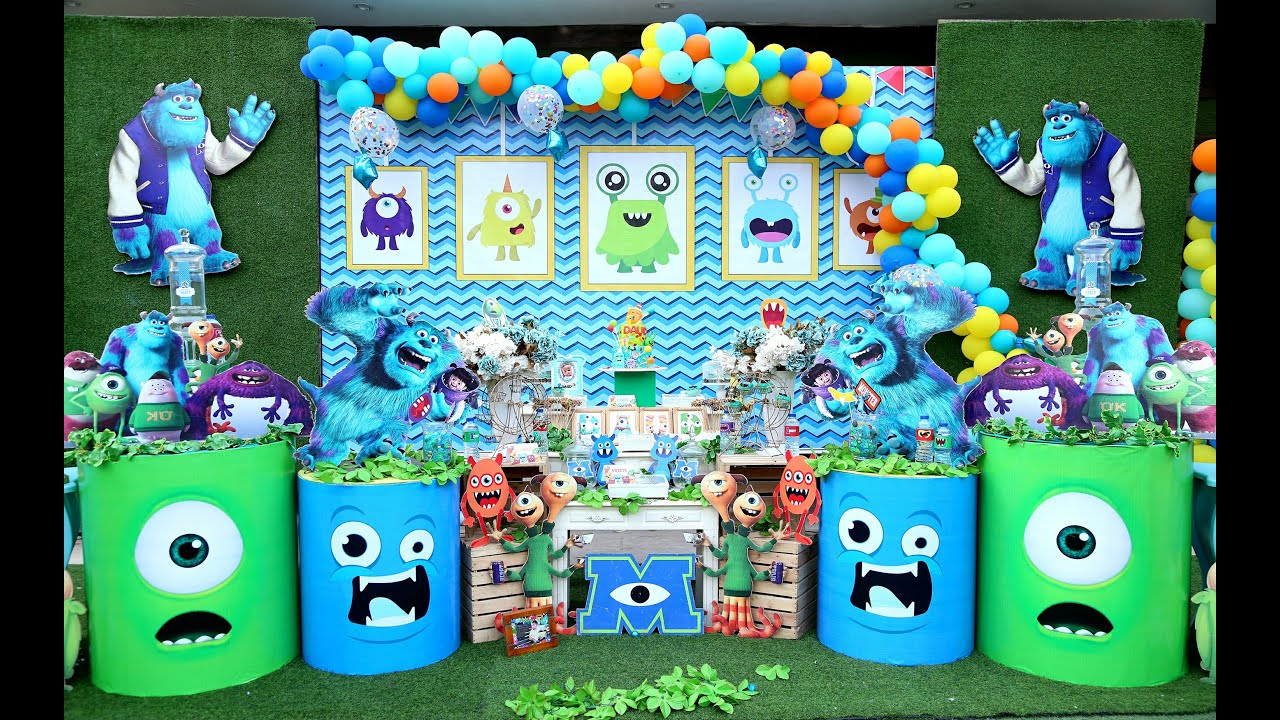 Monsters Party Ideas For 1 Year Old Boys Monsters Inc Party Little Monsters 1st Birthday Decor Youtube