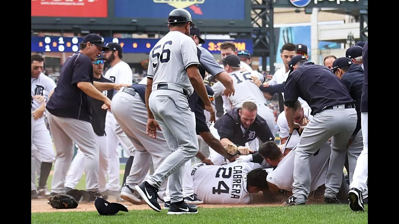 New York Yankees vs Detroit Tigers baseball game epic bench clearing brawl August 24, 2017 fight