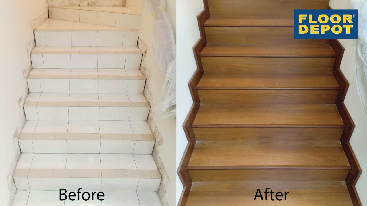 Laminate Flooring Staircase Installation Youtube   Wood Floors And Stairs   Inside   Red Oak   Cherry Wood   Combined Wood   Rustic Wood