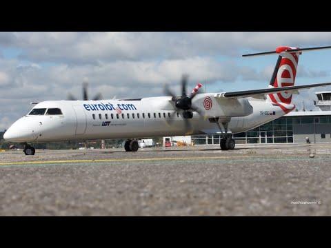 Bombardier Dash 8Q-400 Eurolot Start-Up & Take-Off At Bern Airport