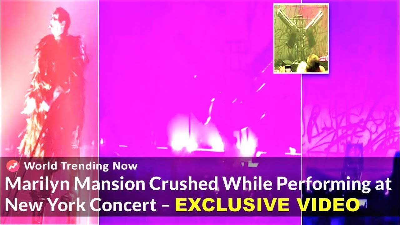 marilyn manson crushed by two giant pistol stage props singing sweet dreams at new york concert. Black Bedroom Furniture Sets. Home Design Ideas