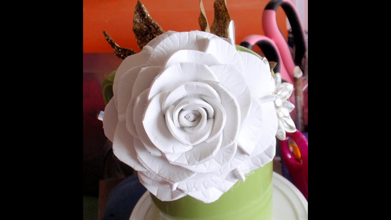 How To Make Foam Flower Diy Tutorial Foam Rose 2 Youtube