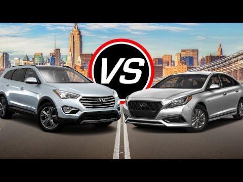 2016 Hyundai Santa Fe SE vs Sonata Hybrid - Spec Comparison!