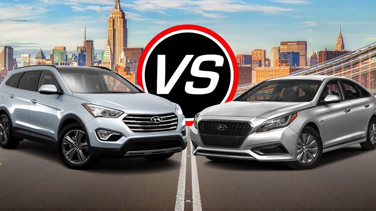 2016 Hyundai Santa Fe Se Vs Sonata Hybrid Spec Comparison