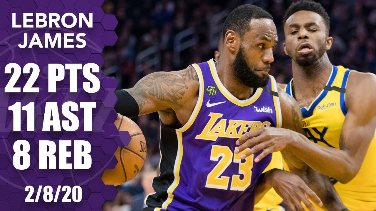 LeBron hits deep 3-point dagger in double-double for Lakers vs. Warriors | 2019-20 NBA Highlights