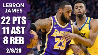 Lebron james scores 27 points and dishes out 11 assists, with eight rebounds leading the los angeles lakers to a 125-120 victory over golden state warrio...
