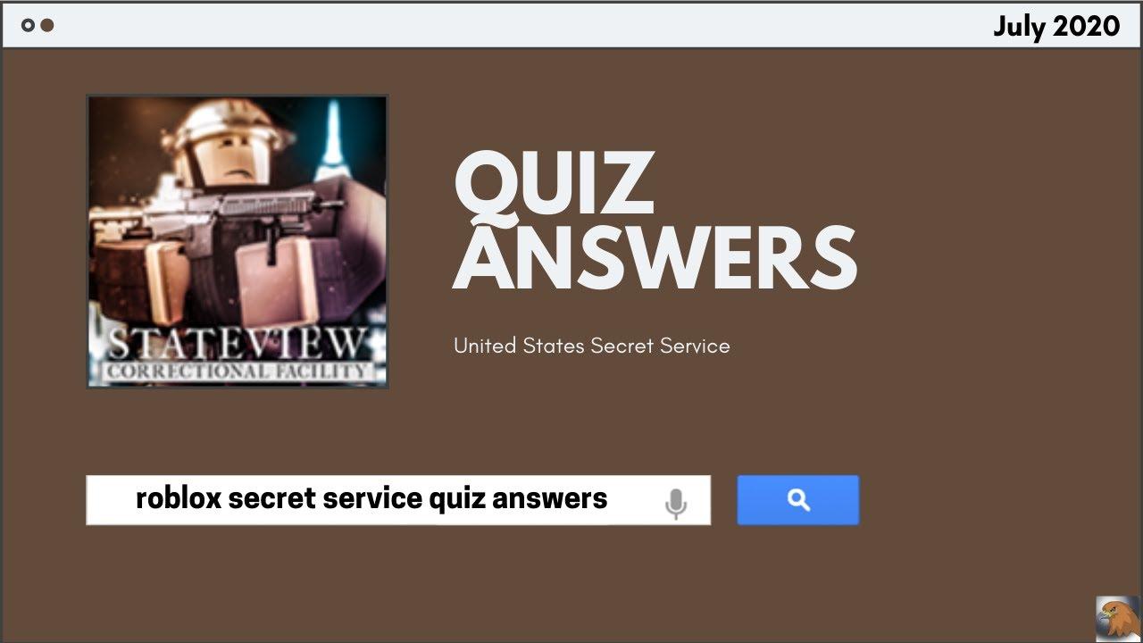 United States Secret Service Quiz Answers 2020   ROBLOX