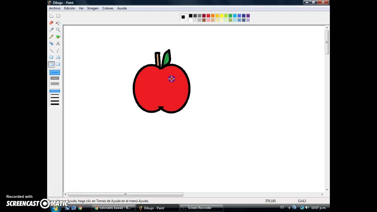 foto de como dibujar manzanas kawaii en paint facil YouTube