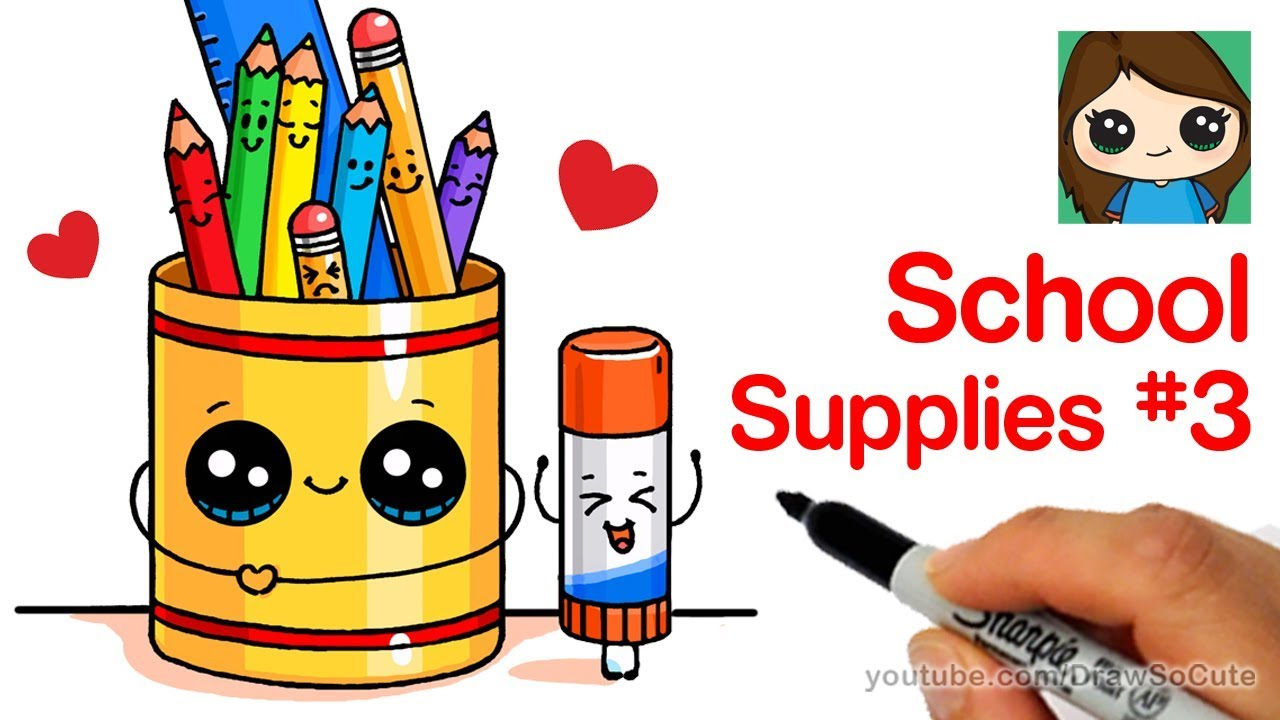 How To Draw Cute Back To School Supplies Easy 3 Youtube