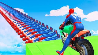 SPIDERMAN and Motorcycles with Superheroe Obstacles Challenge - GTA 5