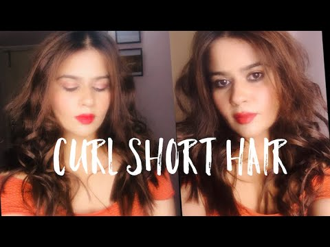 Curl short hair at home | Easy big loose messy curl hairstyle