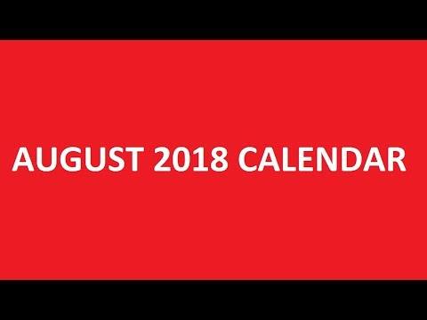 August 2018 Calendar Printable, PDF, Blank, Holidays