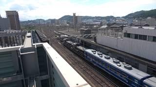 関門トンネルに向けて下関駅を出発する急行阿蘇号を屋上駐車場から撮影(2019/9/28)