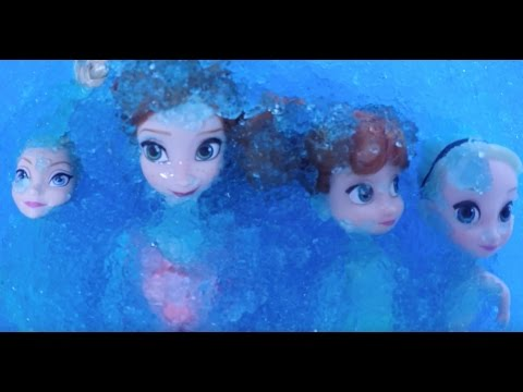 Elsa and Anna toddlers swimming pool fun in the magic ice and relax at the spa