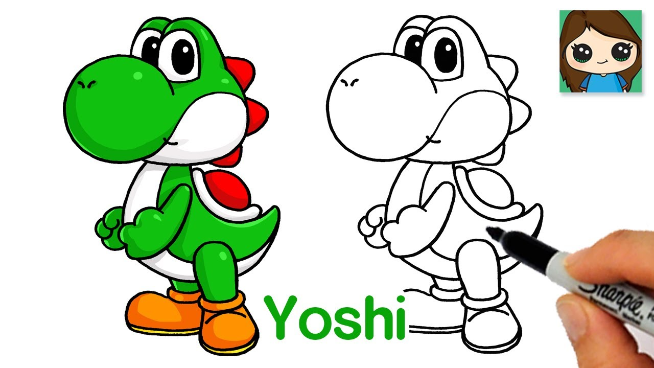 How to Draw Yoshi from Super Mario Bros