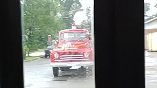 Amazing classic fire truck seen form a bus window