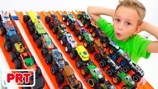 Vlad e Nikita brincam com monster trucks  Hot Wheels Carros para crianças