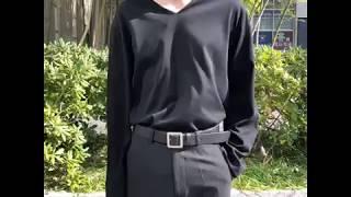 루즈핏 브이넥 티셔츠-블랙