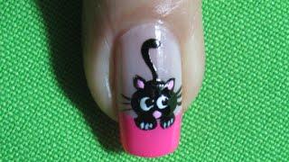 Uñas De Gato - Black Cat Nail Art |Nails-Uñas| Gato negro |Black Cat |Nail Art | Nailslucerocordoba