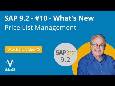What's New in SAP Version 9.2 - Price List Management | Vision33