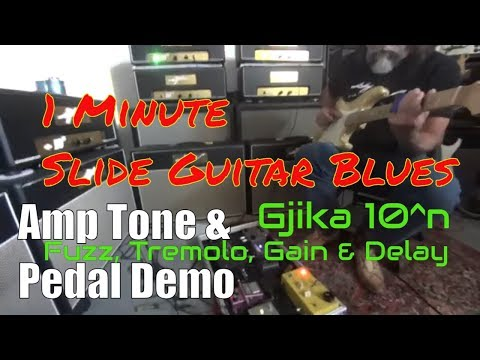 Electric Slide Guitar Blues - Guitar Amp Tone Demo Clean & Dirty - Fuzz, Gain, Tremolo, Delay Pedals