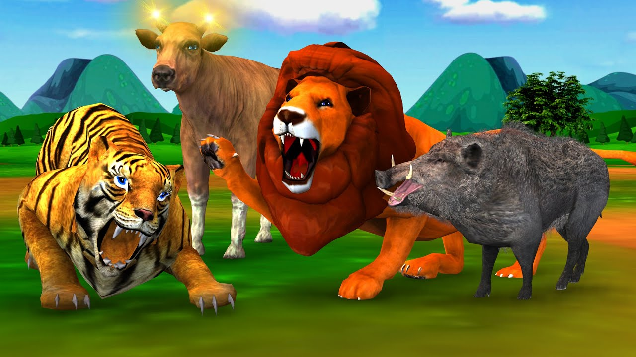 जादुई गाय सुवर और शेर की दोस्ती Magical Cow Pig Lion Friendship हिंदी कहनिया Animals Hindi Kahaniya