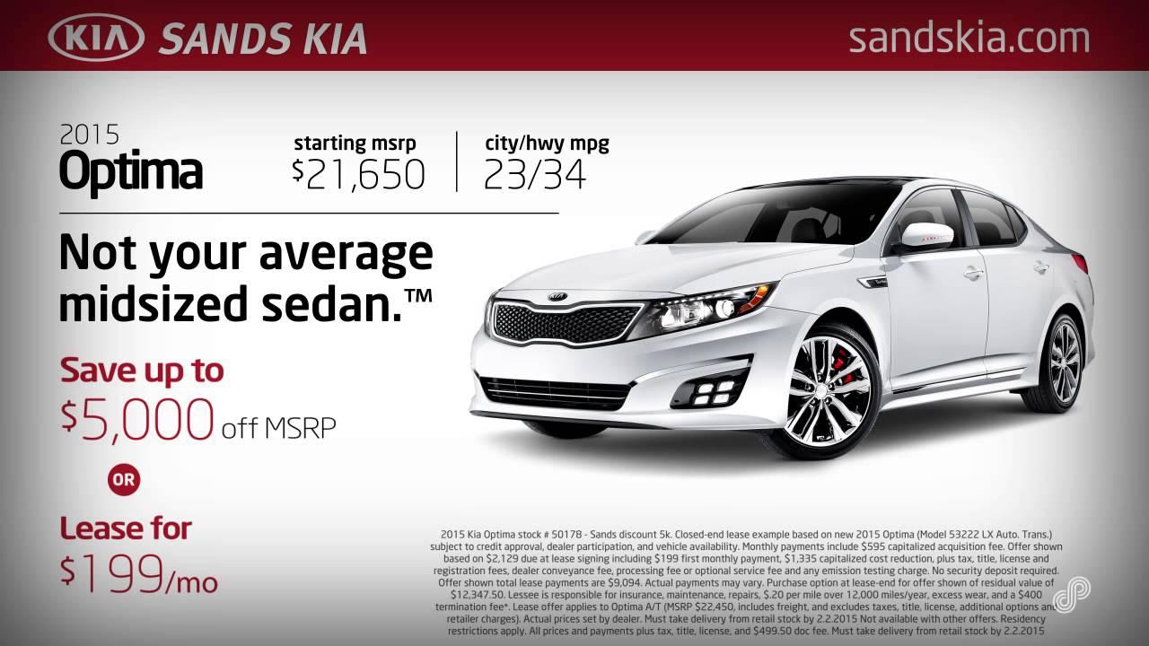 2015 Kia Optima Purchase Or Lease Specials Sands Kia January 2015   SP