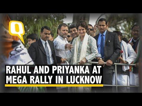 Rahul Gandhi Joins Priyanka Gandhi at Mega Rally in Lucknow, UP