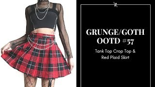 4ddae75c92 Grunge / Goth OOTD #57 ~ Tank Top Crop Top & Checkerboard Skirt