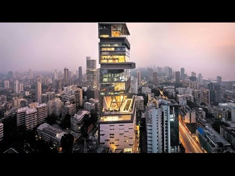 ANTILIA BUILDING MUMBAI INDIA|PRIVATE HOME HOUSE|RICH BILLIONAIRE BUSINESSMAN MUKESH AMBANI FAMILY