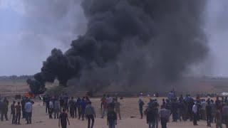 Palestinian demonstrators gather near the Gaza-Israel border