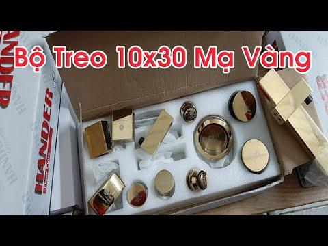 Phòng tắm kính - Bộ Treo 10x30 Mạ Vàng cho phòng tắm kính mở trượt
