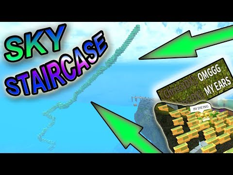 STAIRCASE TO THE SKY!!!!! + ( 50 radio test experiment ) - Roblox Booga Booga!