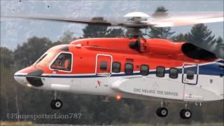 Friendly Pilot waves at me!! CHC Helikopter Service S-92 Landing at Bergen Airport, Flesland