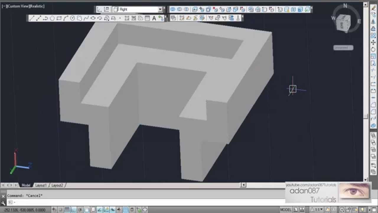 Autocad 3d Drawing 1 Youtube