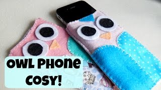 DIY Felt Owl Phone Cosy! Hand Sewing How To ¦ The Corner of Craft