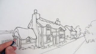 How to Draw a Cottage House in Two-Point Perspective